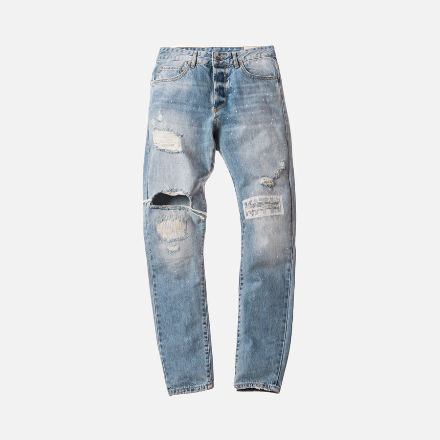 Kith Varick Destroyed Logo Denim - Hosu Blue