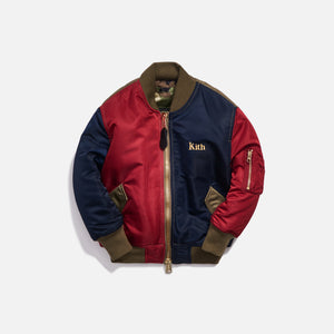 Kith Kids x Alpha Industries Youth MA-1 Bomber Jacket - Navy / Red Image 1