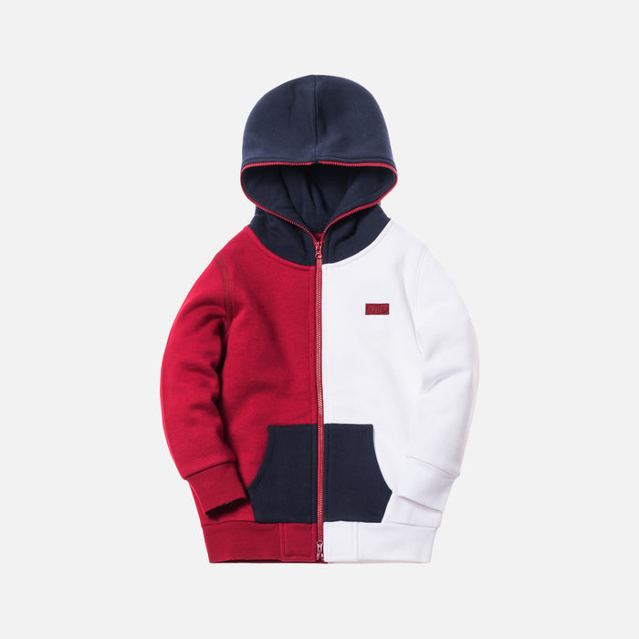 Kith Kids Tri-Block Zip Hoodie - Red / White / Navy