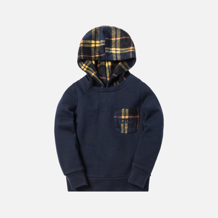 Kith Kids Plaid Combo Williams II Hoodie - Navy
