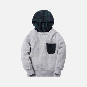 Kith Kids Plaid Combo Williams II Hoodie - Heather Grey