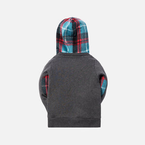 Kith Kids Plaid Combo Williams II Hoodie - Heather Charcoal