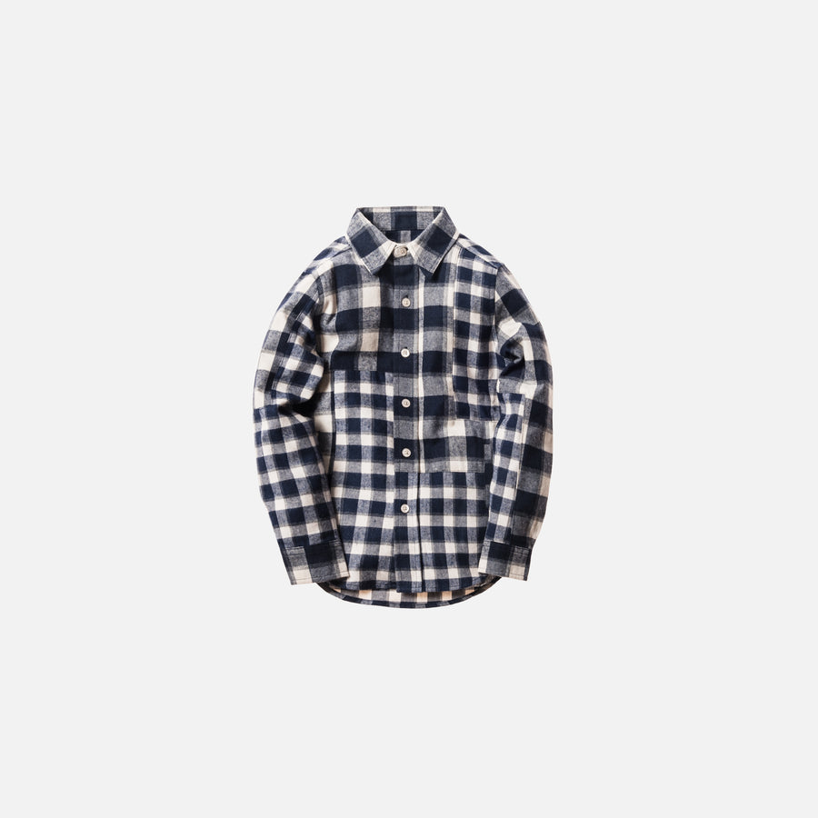 Kidset Mixed Plaid Ginza Button-Up - Navy