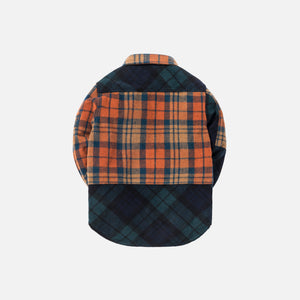 Kith Kids Mixed Plaid Ginza Shirt - Navy Blackwatch