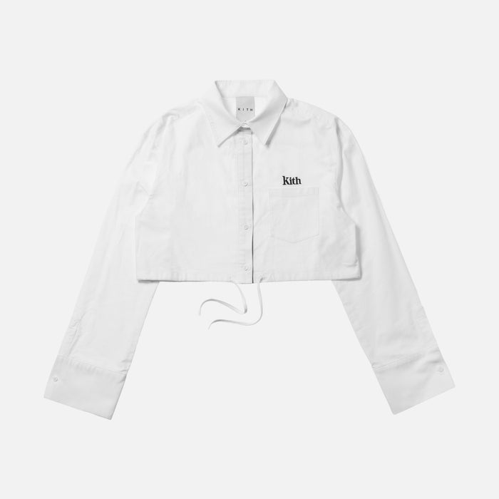 Kith Women Lisa Cropped Oxford Shirt - White