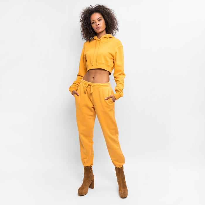 Kith Women Alexa Cropped Hoodie - Golden Yellow