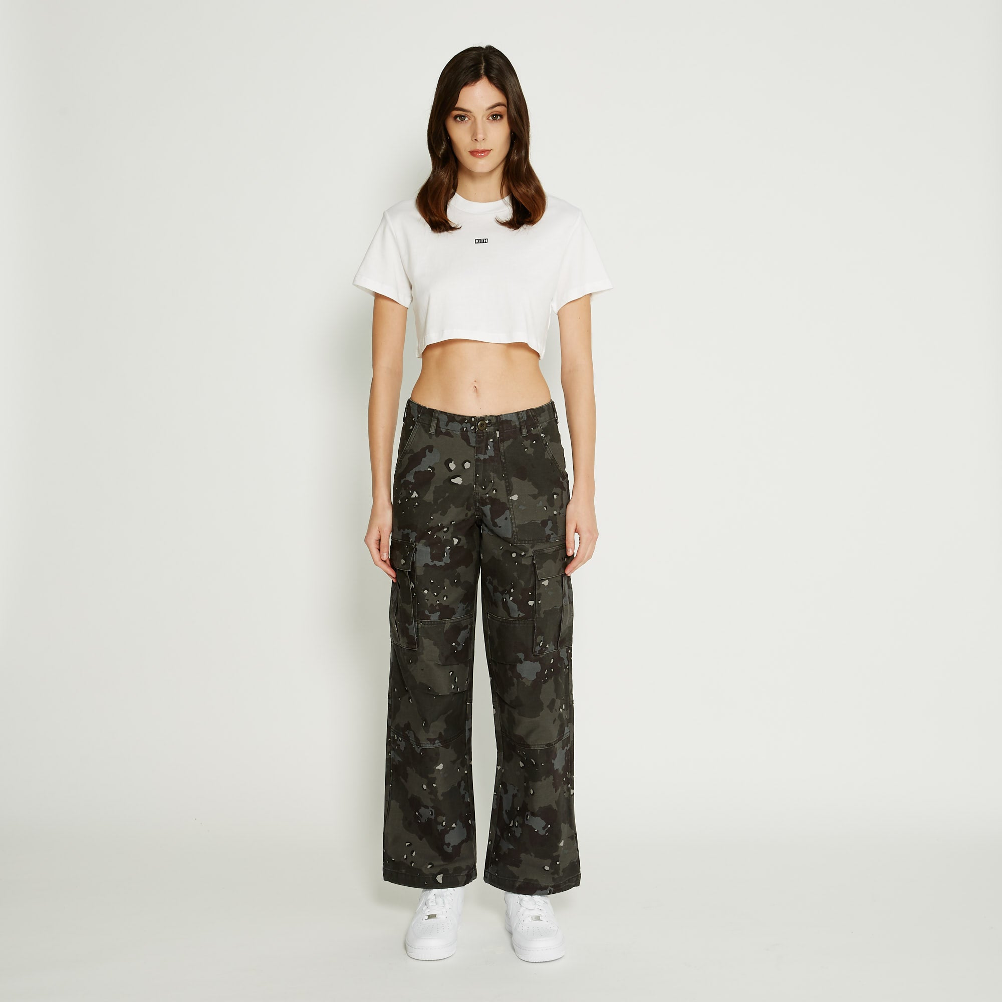 Kith Women Cropped Maddy Mock Neck Tee - White