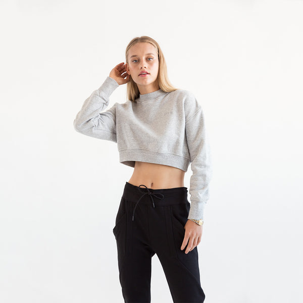 Kith Marlow Cropped Crewneck - Heather Grey