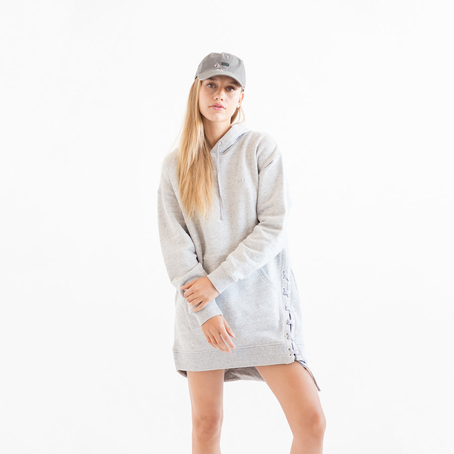 Kith Amiya Side Lace Hoodie - Heather Grey