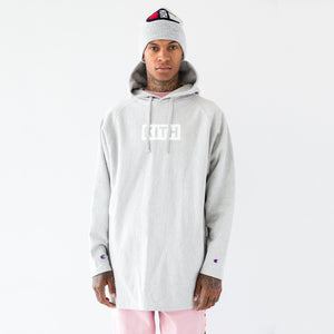 Kith x Champion Extended Hoodie - Heather Grey