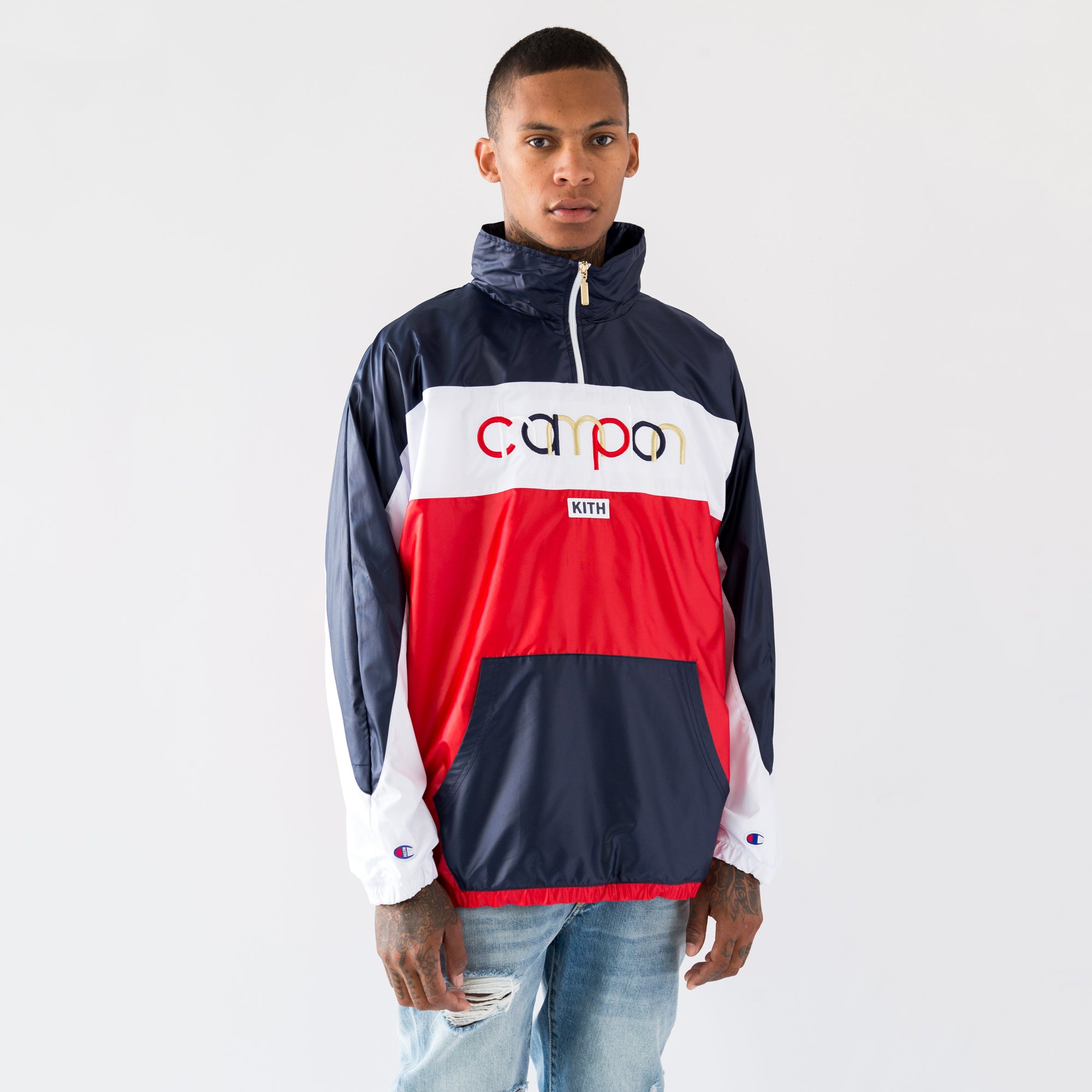 Kith x Champion Quarter-Zip - Red / White / Navy