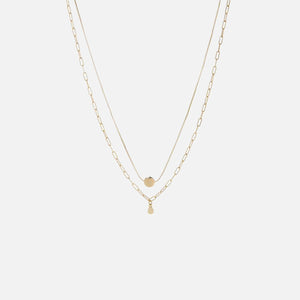 Luv AJ The Golden Nugget Double Charm Necklace - Gold