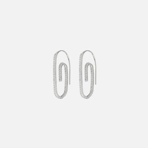 Luv AJ Pave Paperclip Earrings - Silver