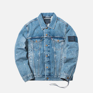 Kith x Levi's Mitchell Paint Splatter Trucker Jacket - Medium Blue