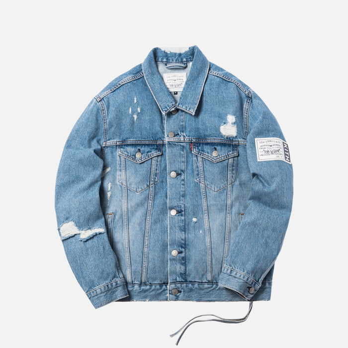 Kith x Levi's Thrashed Trucker Jacket - Light Blue