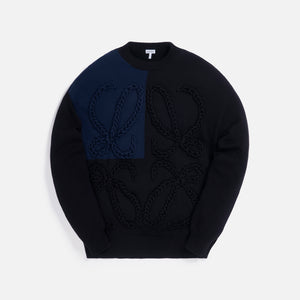 Loewe Anagram Embroidered Sweater - Black / Navy