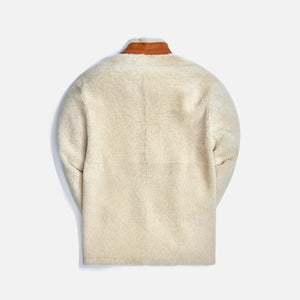 Loewe Shearling Jacket - Soft White / Tan