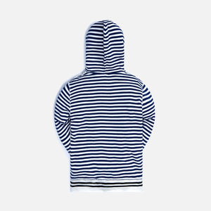 Loewe Reverse Fleece Anagram Striped Hoodie - Ecru / Navy
