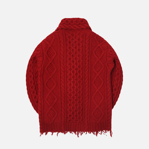 Alanui Fisherman Icon Cardigan Cuir De Russie - Red