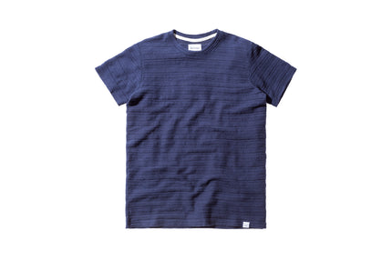 Norse Projects Niels Textured Stripe - Navy