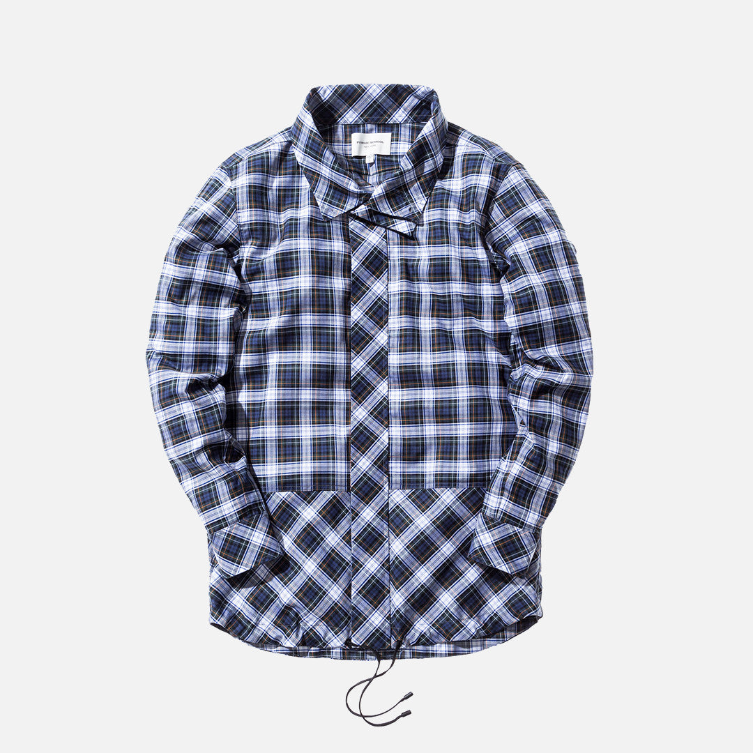 Public School Rown Drawcord Plaid Shirt - Navy