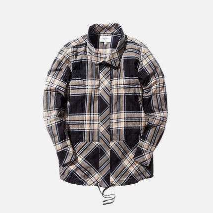Public School Rown Drawcord Plaid Shirt - Beige