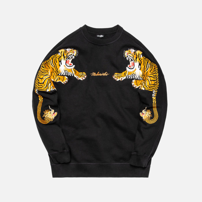 Maharishi Tiger Style Crew Sweat - Black / Orange