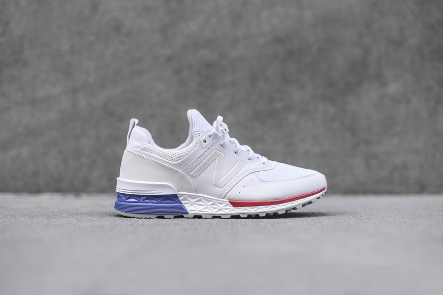 new balance shoes red and blue. new balance 574s - white / blue red shoes and