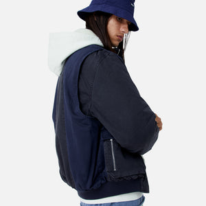 Kith Colorblocked Sateen Bomber - Navy Image 10