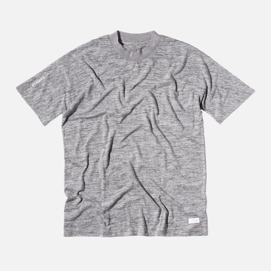 Stampd Mock Neck Pocket Tee - Grey