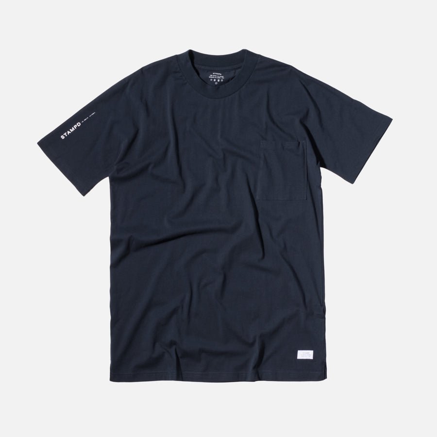 Stampd Mock Neck Pocket Tee - Navy