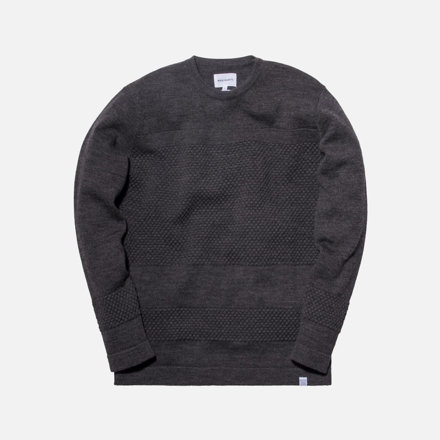 Norse Projects Skagen Bubble Crewneck - Charcoal