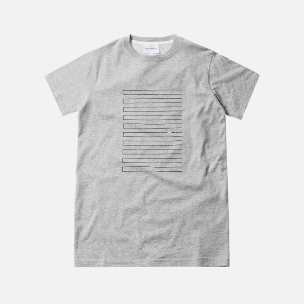 Norse Projects Niels Stripe Screen Logo - Light Grey / Melange