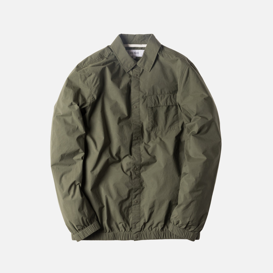 Norse Projects Jens Crisp Cotton Button-Up - Dried Olive