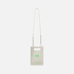 Nana-Nana A5 Leather - White w/ Neon Green