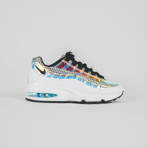 Nike Grade School Air Max 95 Lv8 - White / Black / Blue Gaze / Lime Blast