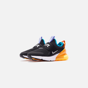 Nike Grade School Air Max 270 - Extreme Black / Metallic Silver / Orange Image 3