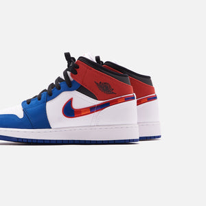 Nike Grade School Air Jordan 1 Mid SE - White / University Red / Rush Blue / Black