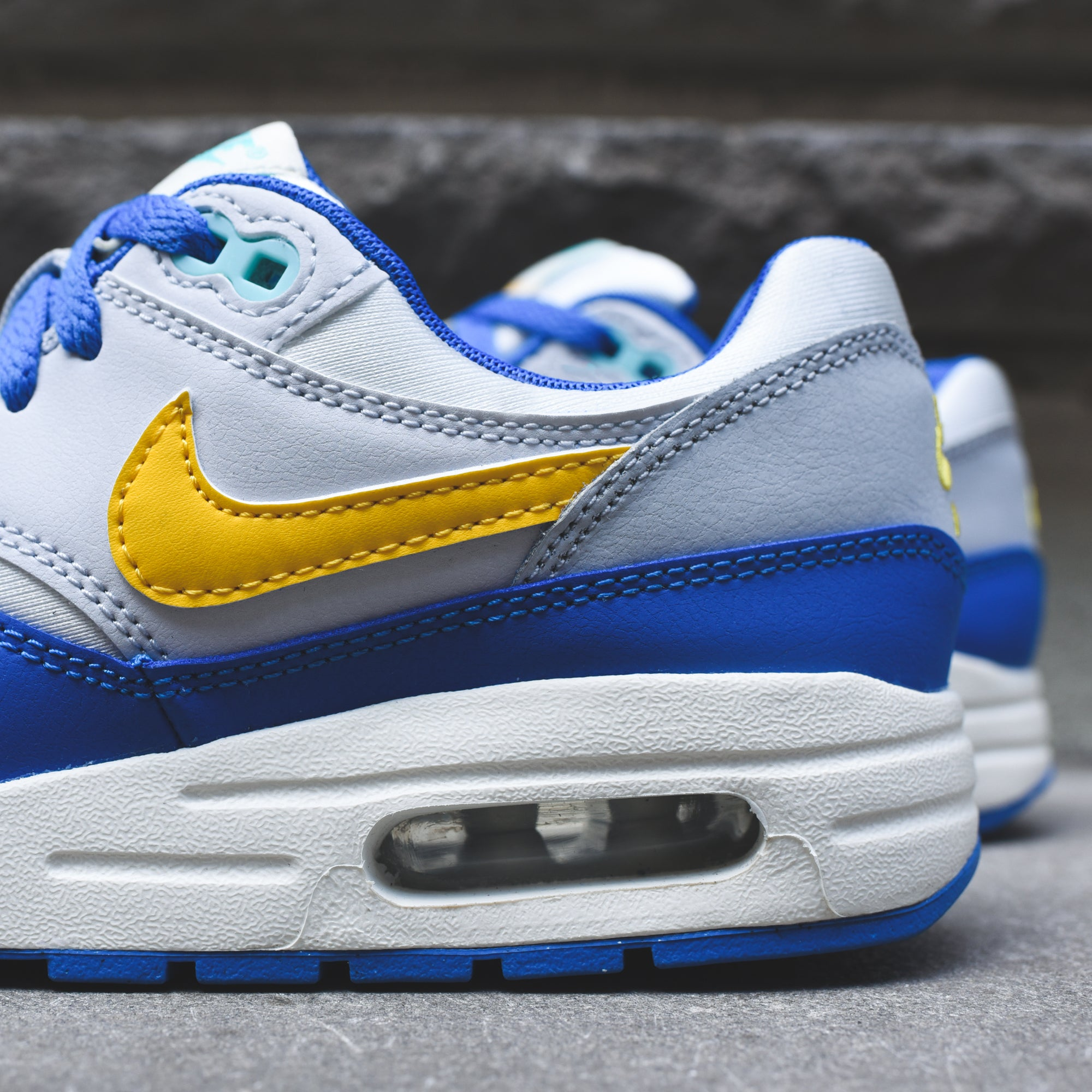 pretty nice e4686 c1268 ... cheap nike grade school air max 1 sail amarillo pure platinum signal  blue d9c10 8a361