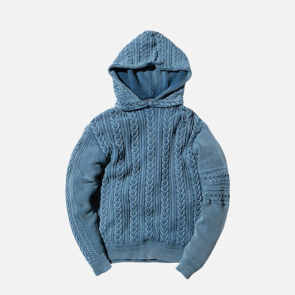 Kith x Ones Stroke Cable Knit Hoodie - Washed Indigo