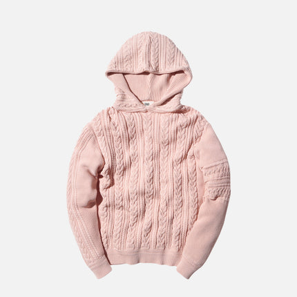 Kith x Ones Stroke Cable Knit Hoodie - Washed Pink
