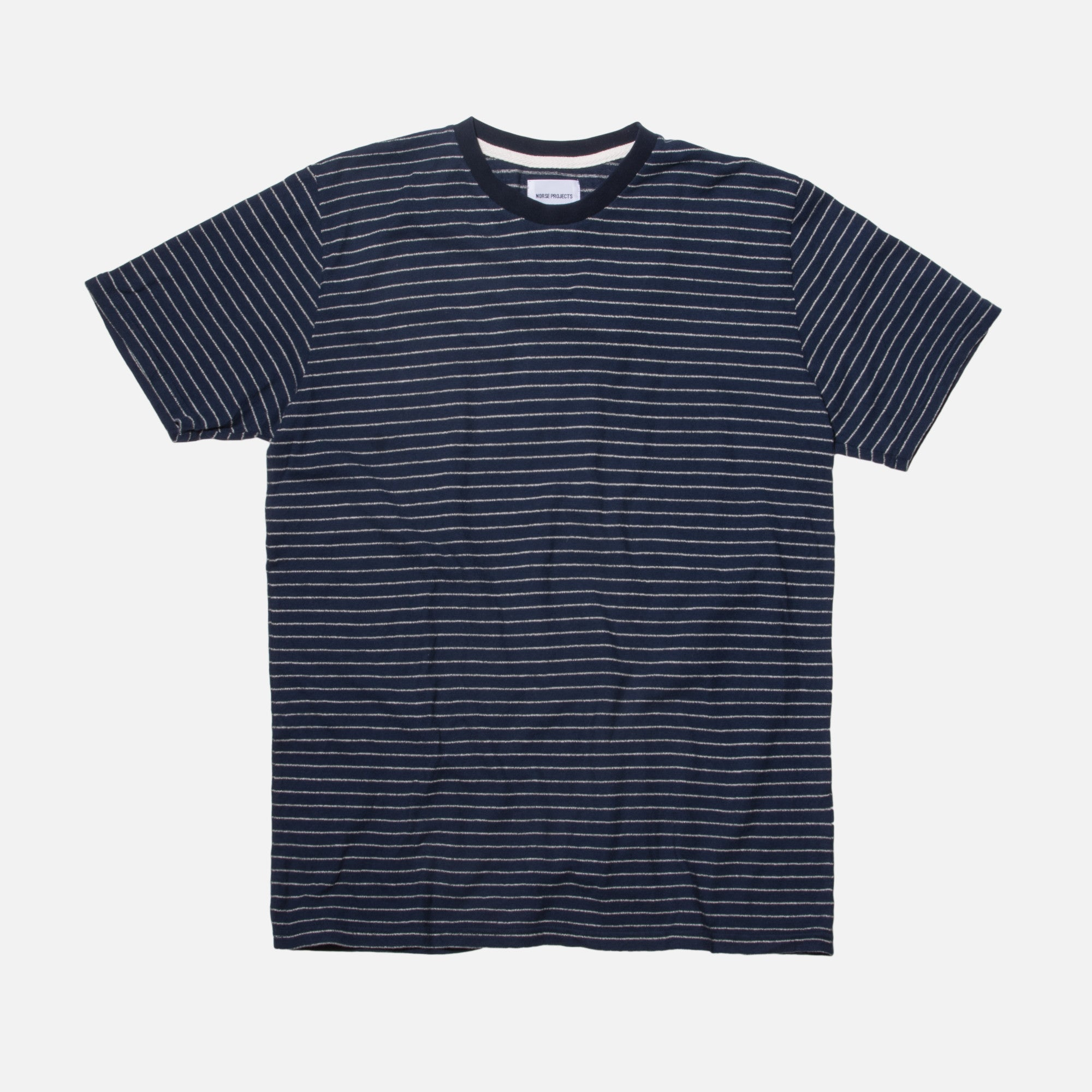 Norse Projects Niels Mouliné Stripe Tee - Dark Navy