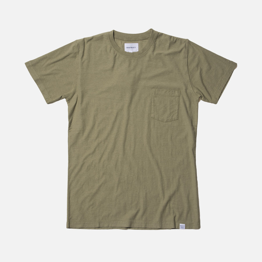 Norse Projects Niels Pocket Boucle Tee - Moss Green