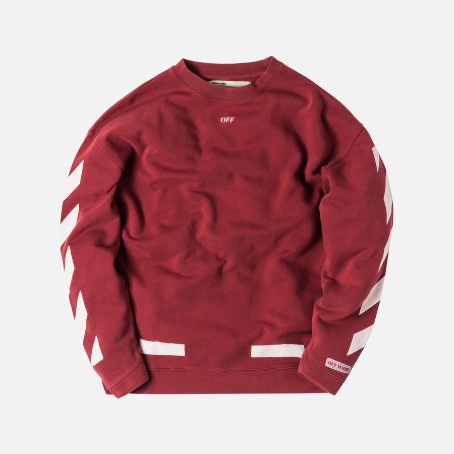Off-White Diagonal Arrows Over Crewneck - Bordeaux / White