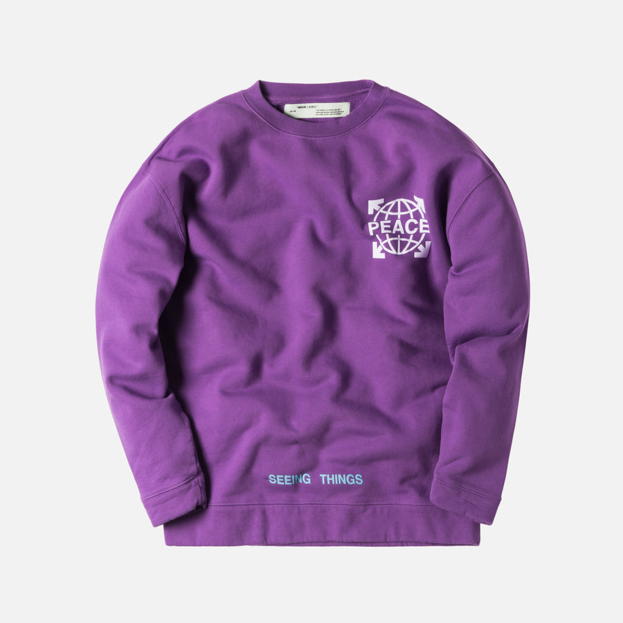 Off-White Globe Over Crewneck - Violet / White