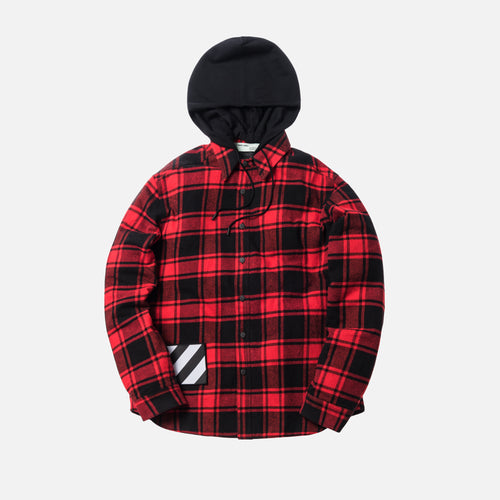 Off-White Padded Hoodie Shirt - Red