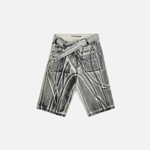 Ottolinger Multiline Denim Shorts - Black Paint