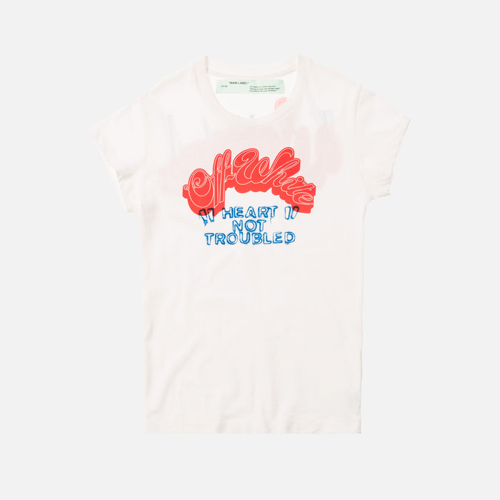 Off-White Heart Not Troubled Fitted Tee - White / Red
