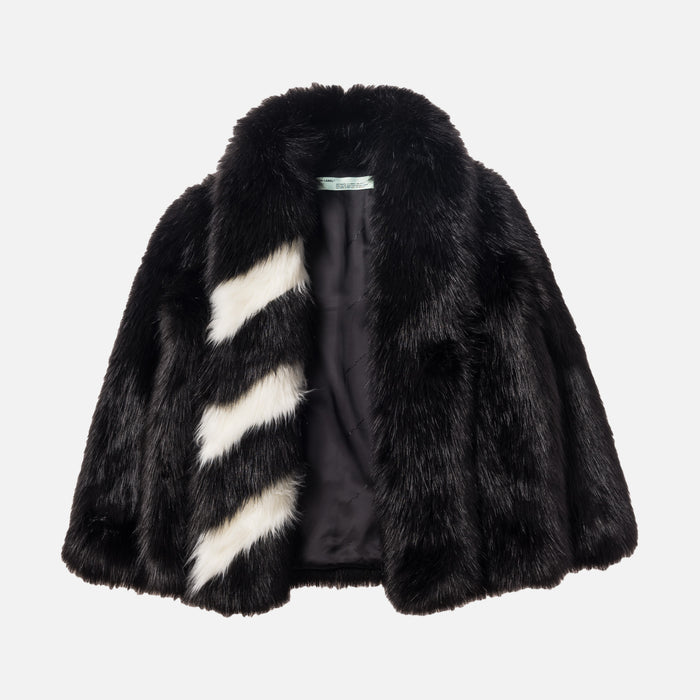 Off-White RAP Faux Fur Jacket - Black