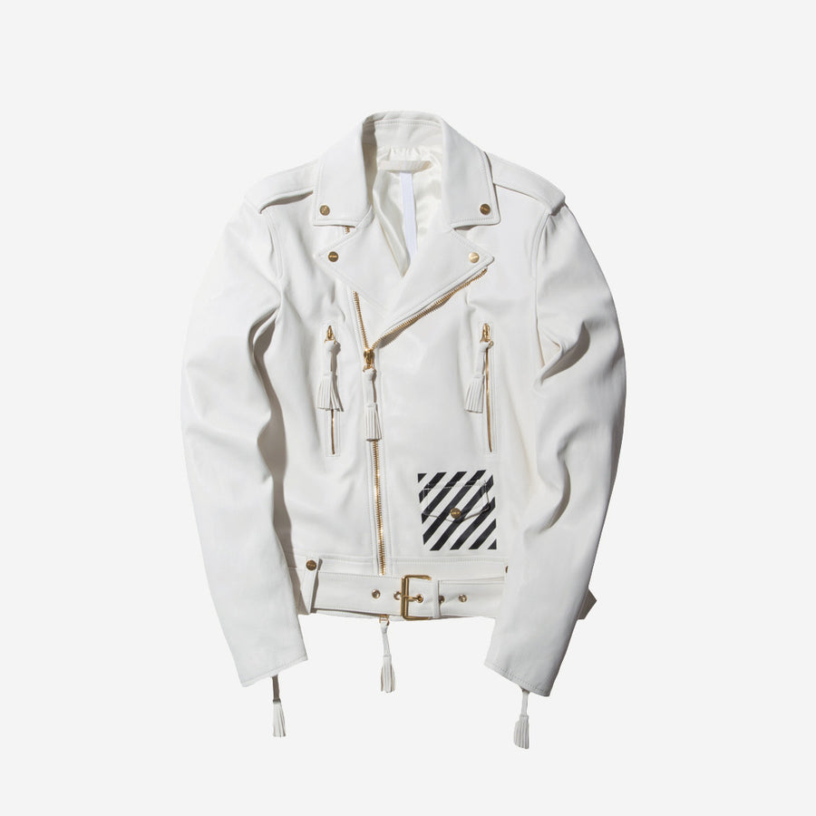Off-White Leather Jacket - White